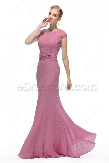 Mermaid Modest Dusty Rose Formal Dresses for Wedding