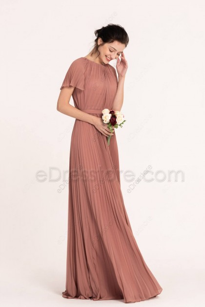 Dusty Rose Modest Pleating Bridesmaid Dresses with Sleeves