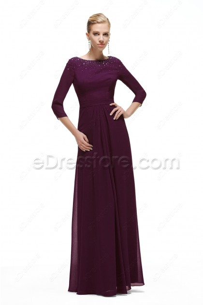 Modest Eggplant Mother of the Groom Dresses with Sleeves Plus Size