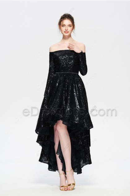 Glitter Black Sequin High Low Homecoming Dresses Long Sleeves