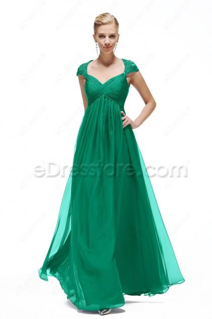 Green Cap Sleeve Prom Dresses Empire Waist