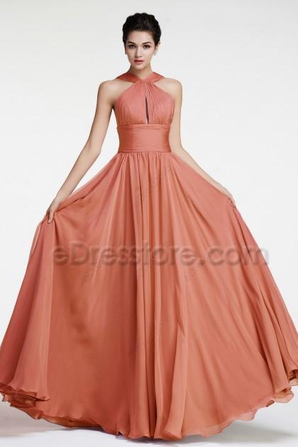 Halter Terracotta Bridesmaid Dresses Long