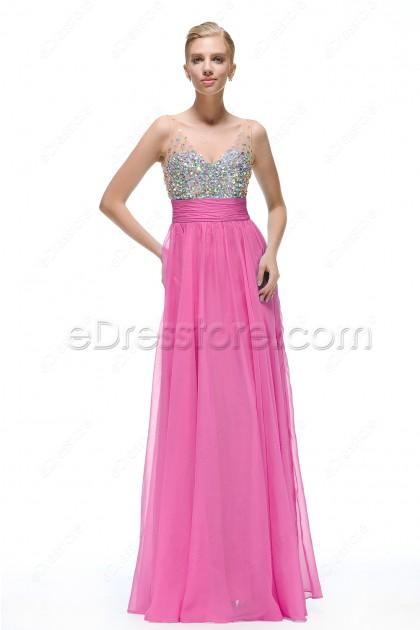 Sparkle Crystal Hot Pink Formal Dresses Long