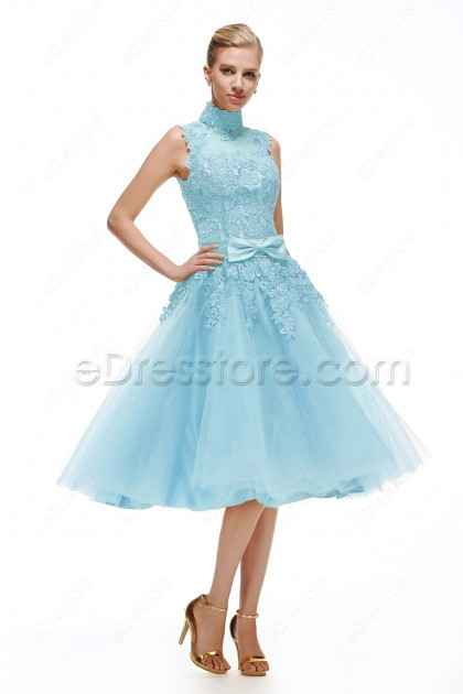 Light Blue Lace Vintage Prom Dresses Tea Length