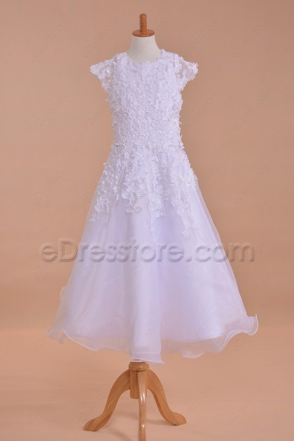 Modest Cap Sleeves First Communion Dresses with Flowers