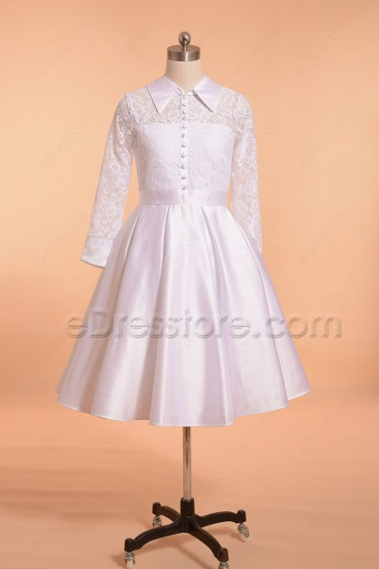 Modest White Lace First Communion Dresses with Long Sleeves Knee Length