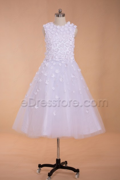 Floral White First Communion Dresses Tea Length