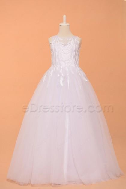 Beaded White First Communion Dresses Floor Length