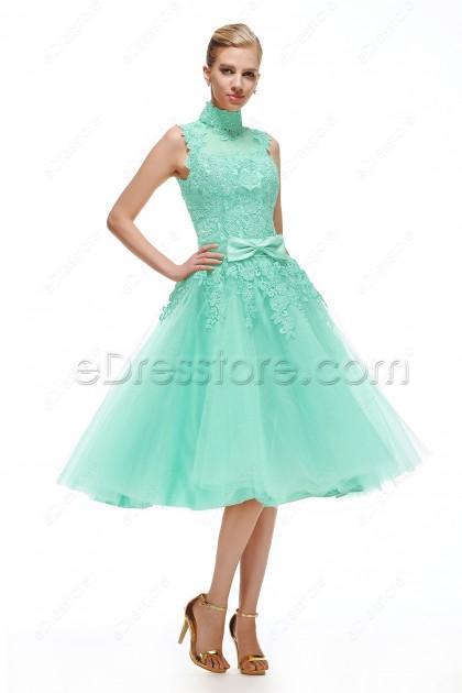 High Neck Mint Green Homecoming Dresses Tea Length