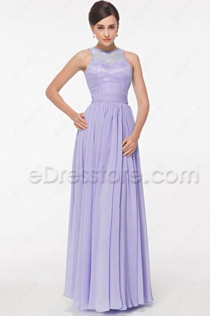 Modest Lace Lavender Evening Dress Long