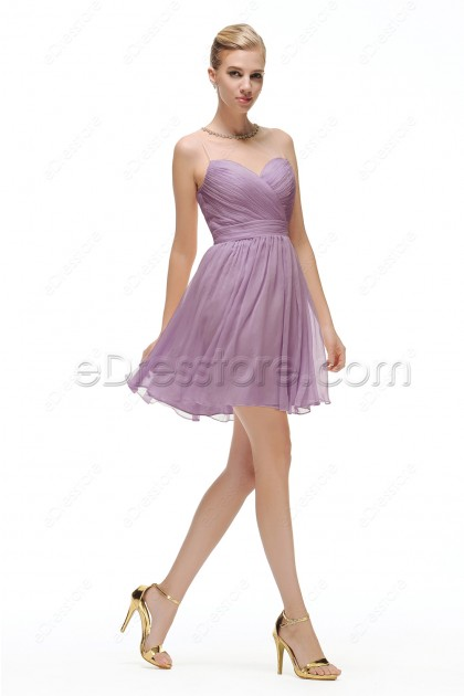 Dusty Lavender Short Bridesmaid Dresses