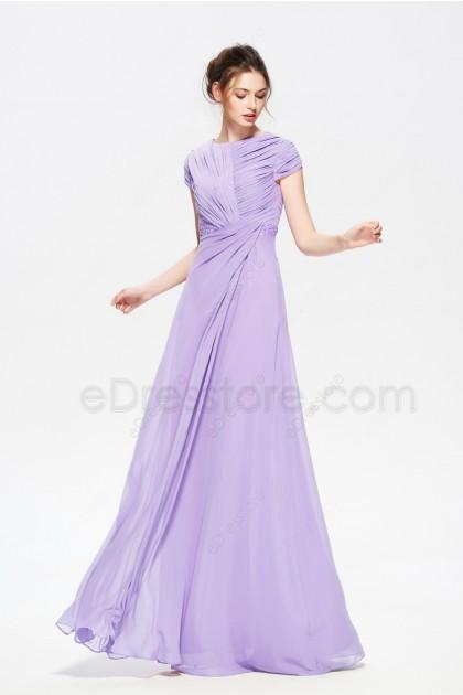 Lavender Modest Beaded Long Prom Dresses Short Sleeves
