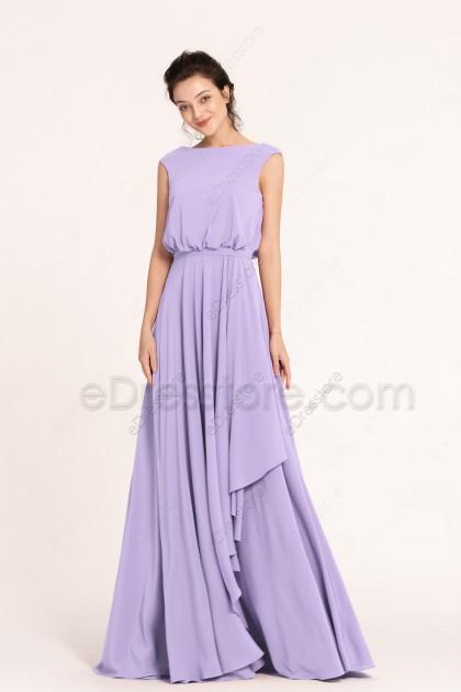 Lavender Modest Prom Dresses Boho Style