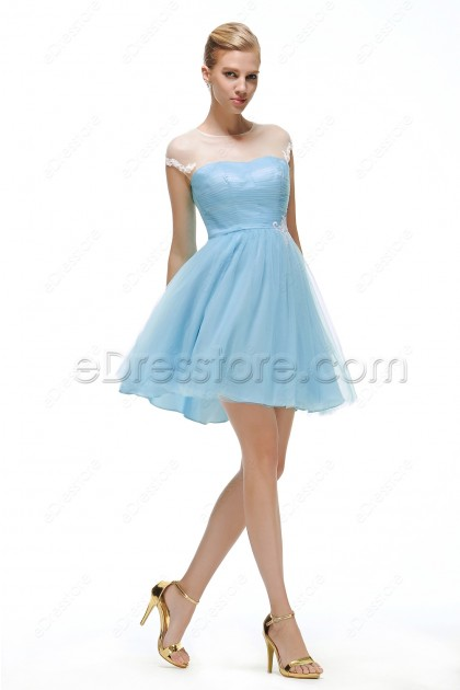 Light blue short bridesmaid dresses cap sleeves for Short light blue wedding dress