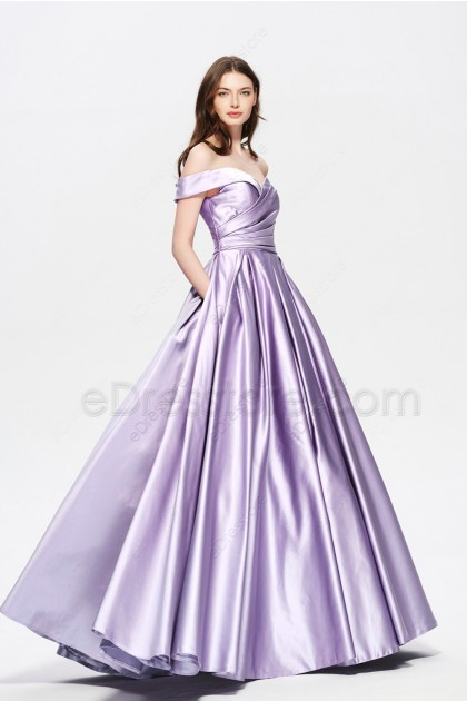 Lilac Vintage Off the Shoulder Homecoming Dresses with Side Pockets