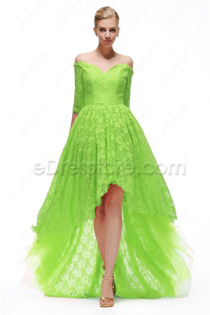 Lime Green High Low Prom Dress with Sleeves.