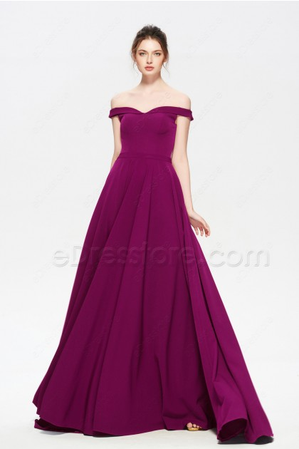 Magenta Off the Shoulder Long Prom Dress with Pockets
