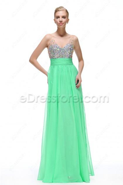 Crystals Mint Green Maid of Honor Dresses Bridesmaid Dress
