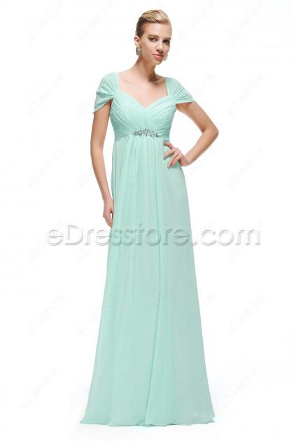 Mint Green Prom Dress Cap Sleeves Empire Waist