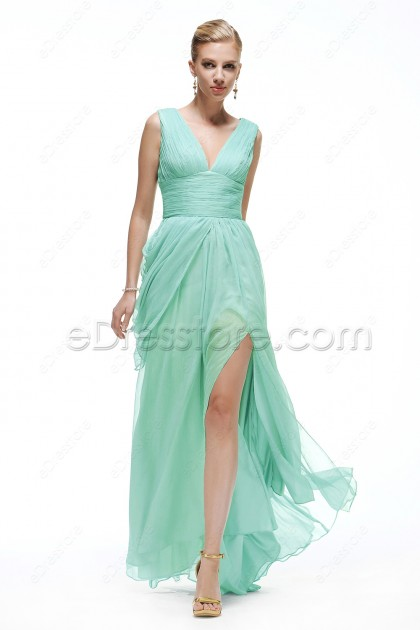 Mint Green Flowing Prom Dresses with Slit Watteau Train