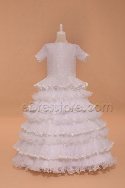 Modest Tiered Ball Gown First Communion Dress with Sleeves Floor Length