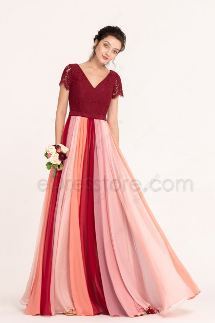 Modest Burgundy Coral Blush Multi-colored Bridesmaid Dresses with Sleeves