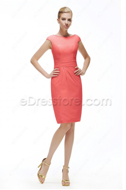Modest Coral Bridesmaid Dress Knee Length