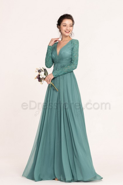 Modest Dusty Green Bridesmaid Dresses Long Sleeves