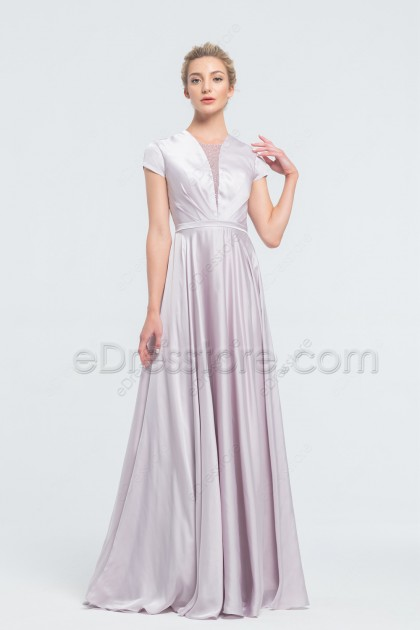 Modest Dusty Lavender Satin Bridesmaid Dresses Long with Cap Sleeves