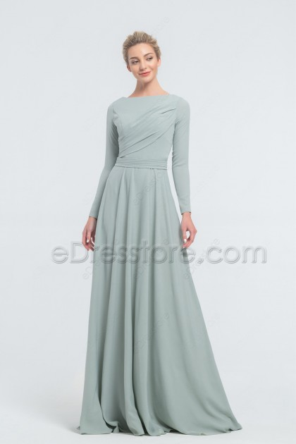Modest Dusty Sage Bridesmaid Dresses Long Sleeves