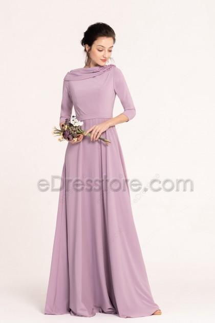Wisteria Modest Bridesmaid Dresses 3/4 Sleeves