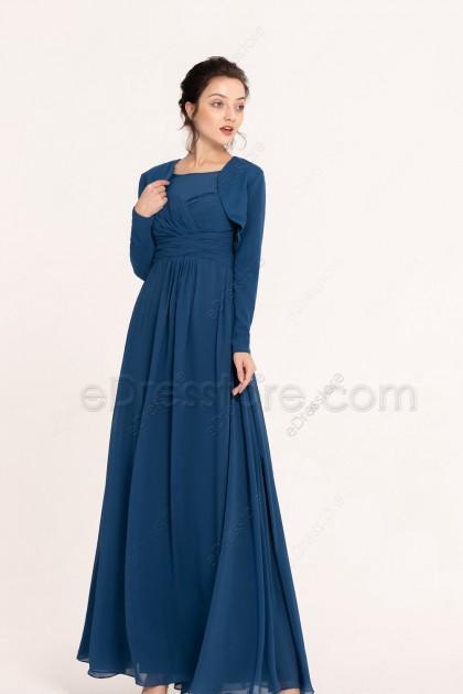 Modest Indigo Blue Bridesmaid Dresses with Long Sleeve Bolero