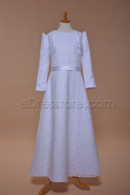 Modest Lace First Communion Dresses with Long Sleeve Bolero