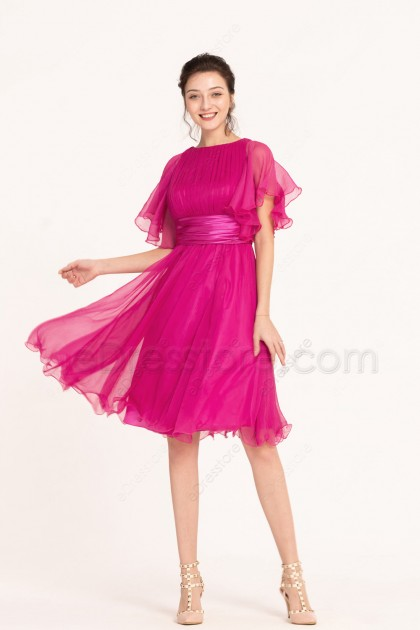 Modest Magenta Midi Bridesmaid Dresses with Sleeves