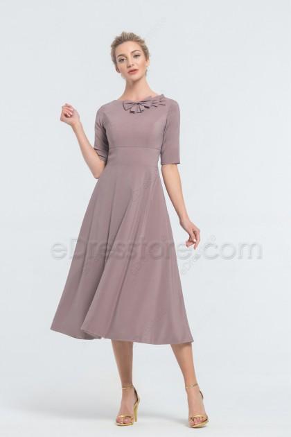 Modest Mauve Bridesmaid Dresses with Sleeves Midi Bridesmaid Dress