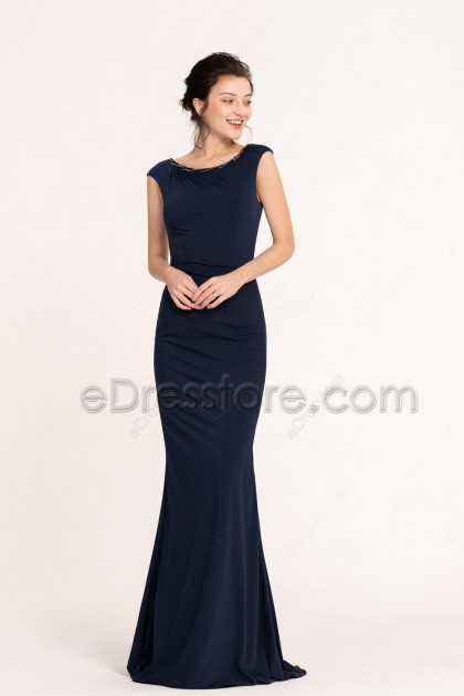 Modest Navy Blue Beaded Mermaid Stretchy Prom Dresses Long