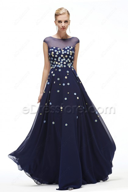 Modest Floral Navy Blue Prom Dresses long Cap Sleeves
