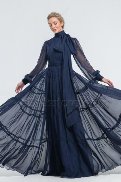 Modest Navy Bridesmaid Dresses Long Sleeves High Neck
