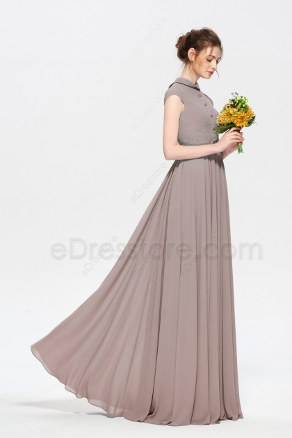 Modest Neutral Bridesmaid Dresses Jewel Neckline