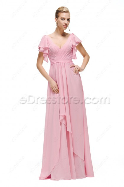Modest Pink Prom Dress with Sleeves