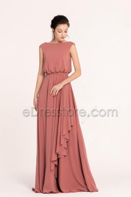 Modest Popover Marsala Bridesmaid Dresses Cap Sleeves