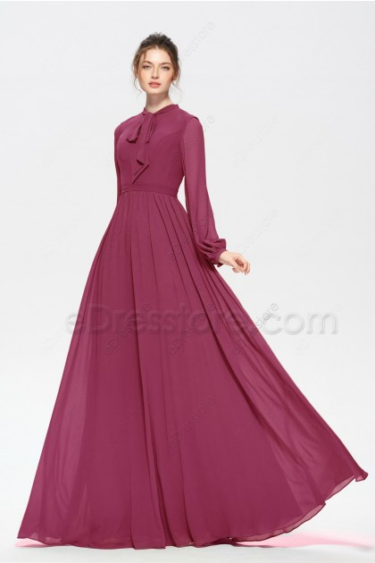 Modest Rosewood Bridesmaid Dresses Long Sleeves