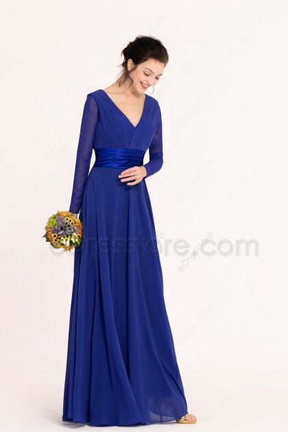 Modest Royal Blue Bridesmaid Dresses Long Sleeves