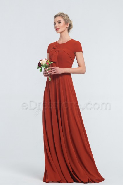 Modest Terracotta Bridesmaid Dresses Short Sleeves with Bow and Ribbon