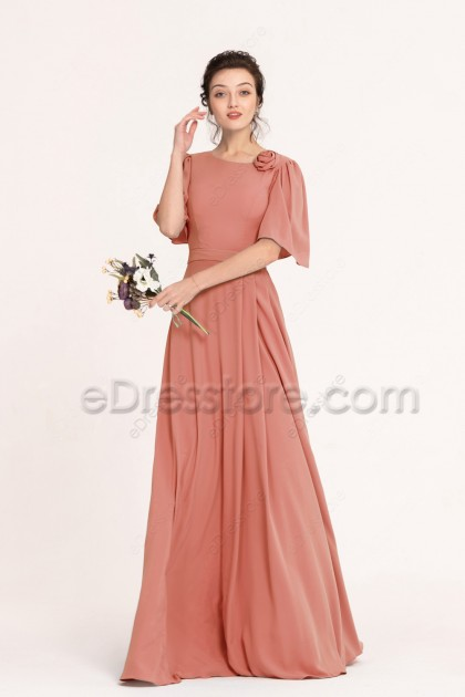 Modest Terracotta Bridesmaid Dresses with Sleeves