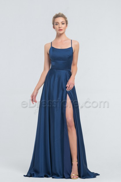 Navy Backless Prom Dress with Slit