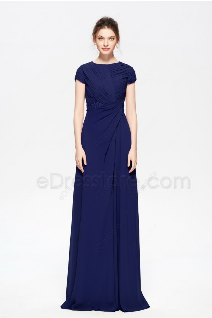 Navy Blue Modest Beaded Bridesmaid Dresses Cap Sleeves