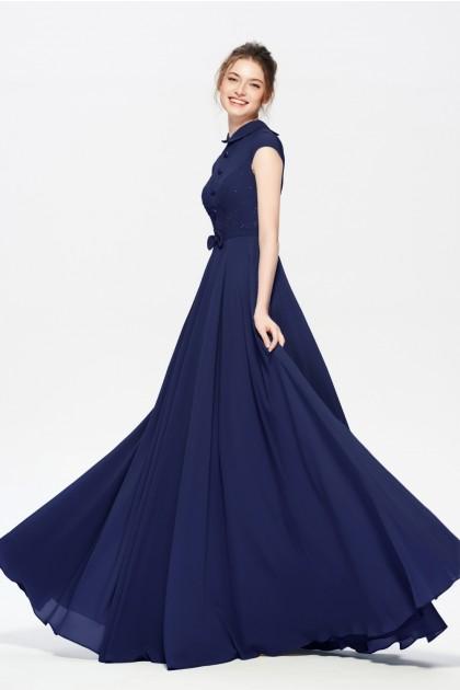 Navy Blue Modest Beaded Long Prom Dresses with Turndown Collar