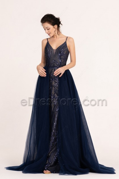 Navy Blue Sparkle Long Prom Dress with Overskirt