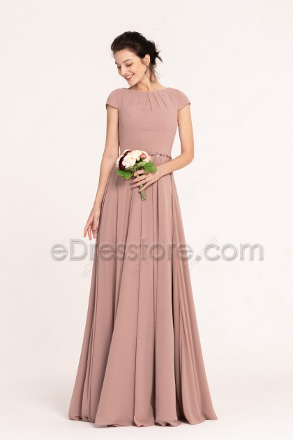 Nostalgia Rose Color Modest Bridesmaid Dresses Cap Sleeves